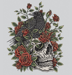 crow roses and skull tattoo design vector image
