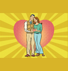 Cute couple hand gesture a heart of love vector
