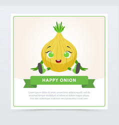 cute humanized bulb vegetable character happy vector image