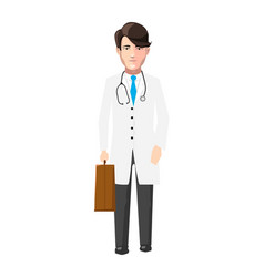 Doctor in white robe with medicine case and vector