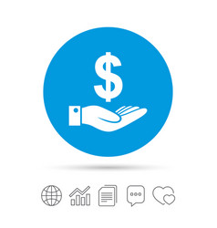 Dollar and hand sign palm holds money usd vector