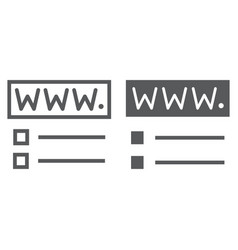Domain registration line and glyph icon website vector