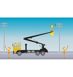 Electrician on Crane truck with Bucket vector