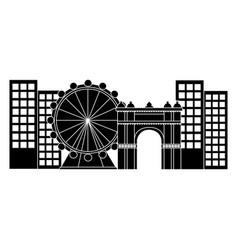 ferris wheel in city icon image vector image
