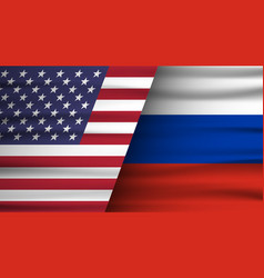 Flags usa and russia concept of vector