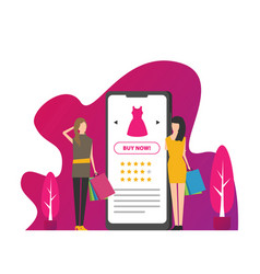 flat girls shop online using smartphone vector image