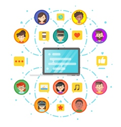 Flat style concept of social network and people vector