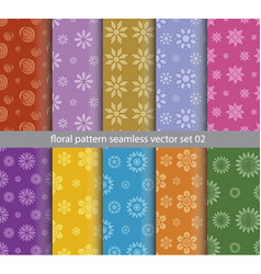 floral pattern seamless set design for wallpaper vector image