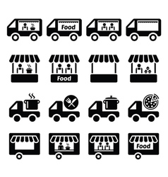 Food truck food stand and food trailer icons set vector image