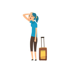 Girl tired carrying a heavy suitcase people vector