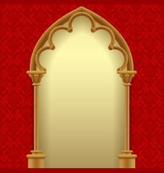 gothic gate with red classic decorative background vector image