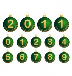 green christmas balls with num vector image
