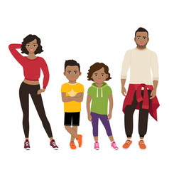 Happy black family in sport style vector