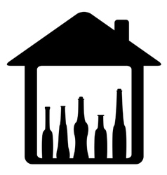 Icon with bottle in home vector