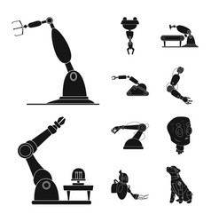 Isolated object of robot and factory logo set of vector