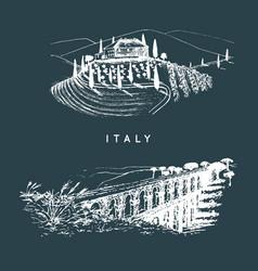 Italian landscapes set with roman aqueduct vector