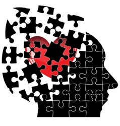 Jigsaw Puzzle head man with a heart shatters into vector