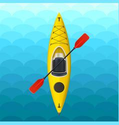 Kayak on blue waves vector