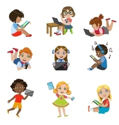 Kids With Gadgets Set vector image