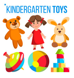 Kindergarten toys set colorful items for vector