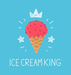 King ice cream cartoon flat and doodle vector