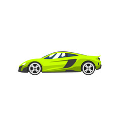 Lime sports racing car supercar side view vector