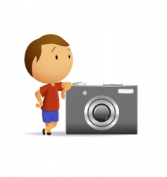 little men with big camera vector image