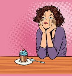 lonely unhappy woman cupcake dessert vector image