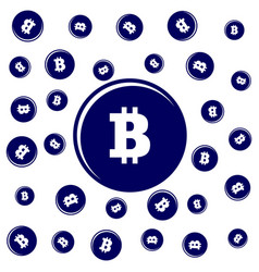 Many bitcoin coins on a white background vector