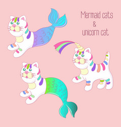 Mermaid cats purrmaids and unicorn cat set vector