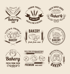 monochrome set of bakery shop logos or vector image