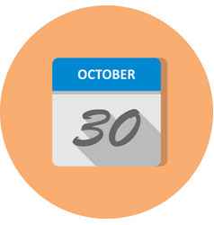 October 30th date on a single day calendar vector