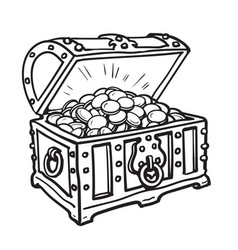 old chest with gold coins vector image
