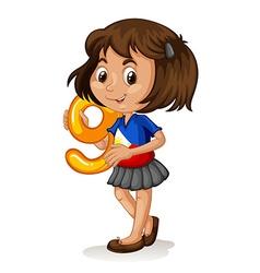 Phillipino girl holding letter nine vector