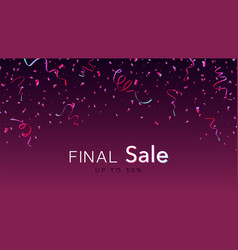 pink and blue glossy confetti on dark background vector image