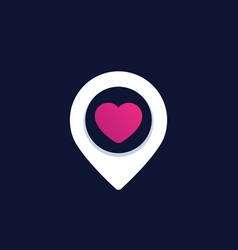 Pinpoint with heart dating logo vector