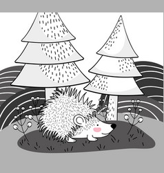 Porcupine animal with pine trees and mountains vector