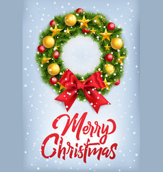 postcard wirh christmas wreath and big red bow vector image