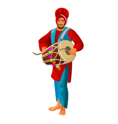 punjabi bhangra drummer in national cloth vector image