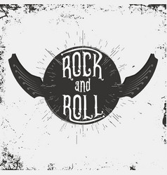 rock and roll music print grunge print vector image