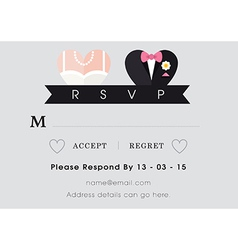 RSVP Wedding card heart theme vector image