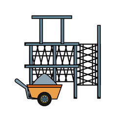 Scaffold and wheelbarrow vector