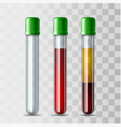 set glassware tube empty filled blood and vector image
