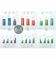 set of 6 infographic design templates with vector image