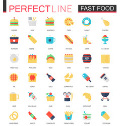 Set of flat fast food icons vector