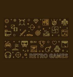 set retro games outline golden banners vector image