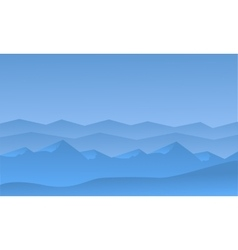 Silhouett of blue hills scenery vector