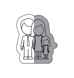 Silhouette family with their dougther icon vector