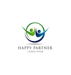 simple happy partner logo sign symbol icon vector image