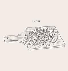 Sliced paleron meat sketch vector